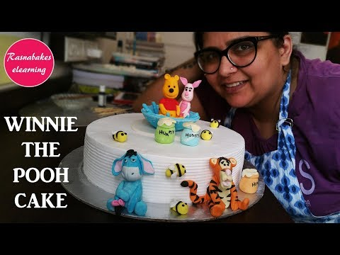 Winnie The Pooh Cake With 3d Fondant Characters Piglet Eeyore Tigger Design For Kids:Birthday Cake