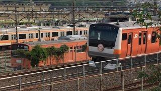 中央線 E233系・E353系 平山中込踏切・豊田電車区 通過シーン