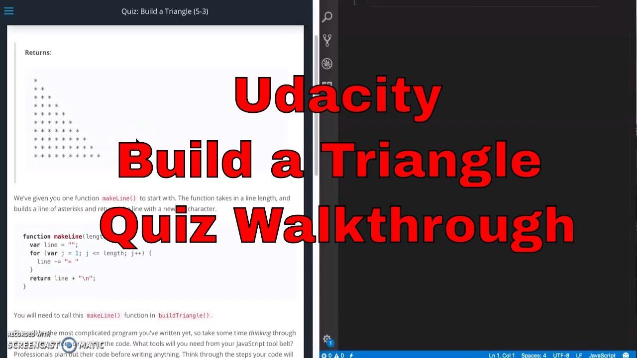 Udacity - Build a Triangle Quiz Walkthrough - JavaScript