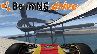 Sky Road Wallride Challenge With a Formula 1 Car - BeamNG Drive Gameplay + Crashes Highlights