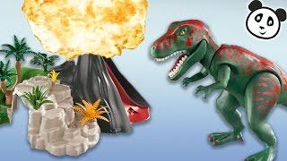 PLAYMOBIL Dinosaurier deutsch - T-Rex und Saichana beim Vulkan – Pandido TV
