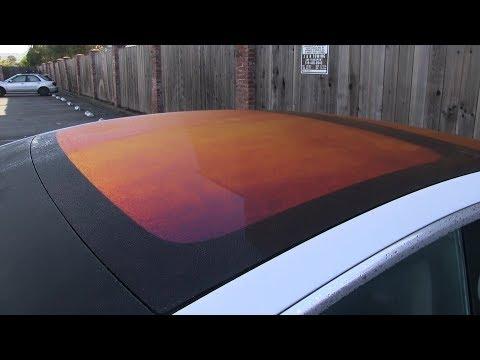 Tesla Model 3 glass roof turned orange