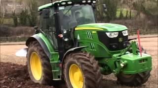 John Deere 6150R ploughing