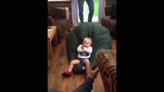 Funny Baby Video - Flying Bean Bag Bouncing Baby, Hilarious!
