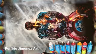 Captain America Avengers Spray Paint Art