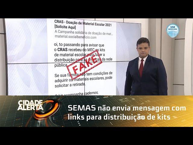 SEMAS não envia mensagem com links para distribuição de kits escolares
