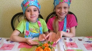 Роза из моркови.  Украшение блюд.  Rose of carrots. Decoration of dishes.