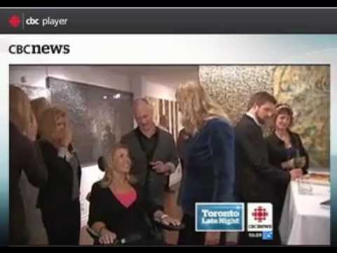 Tracy on CBC News at Jane Roos Gallery