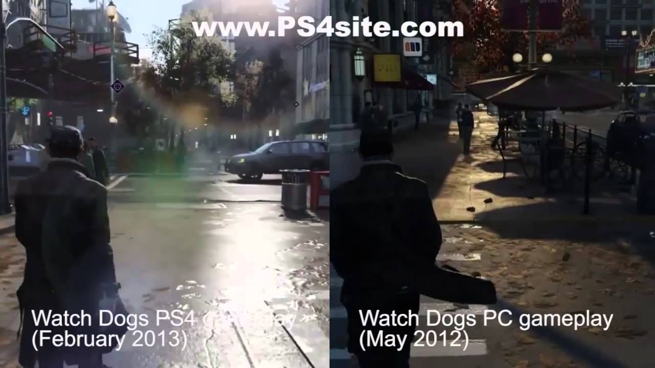 Watch Dogs 02/13 PS4 VS 05/13 PS4 VS 05/12 PC - YouTube