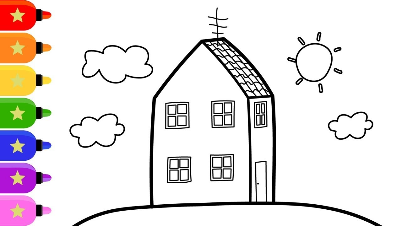 Peppa Pig House Drawing And Coloring