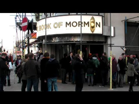 The book of Mormon. Musical. HUGE QUEUE to buy a  ticket. LONDON