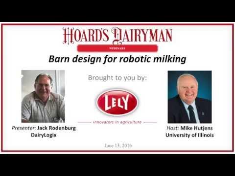 Barn design for robotic milking