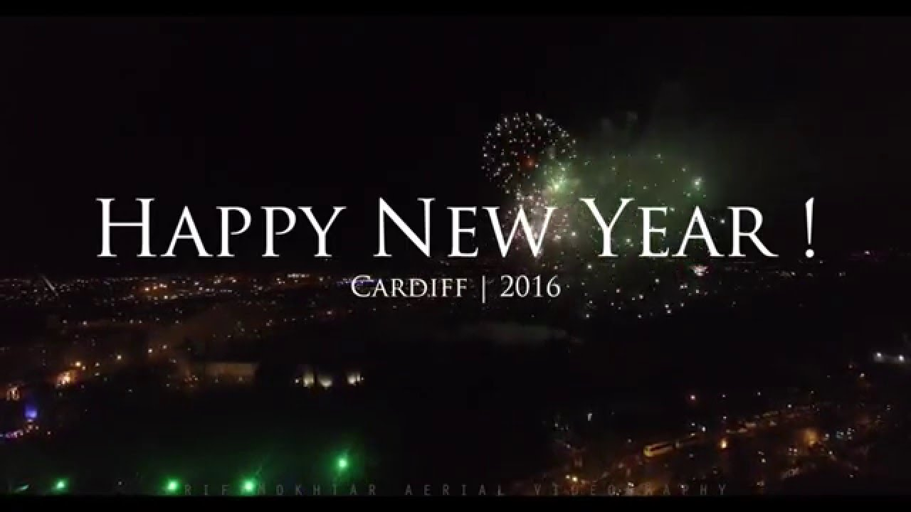 aerial happy new year 2k16 cardiff fireworks aerial view
