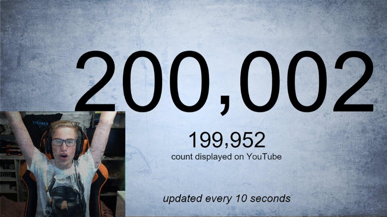 live 200.000 abonnees counter, bedankt! - youtube