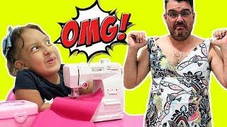 Maria Clara finge brincar com máquina de costura de brinquedo - MC Divertida