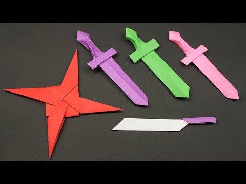 Easy Origami Paper Ninja star/Sword/Knife - How to Make Ninja star/Sword/Knife Step by Step