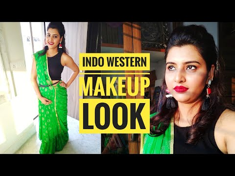 Indo Western Makeup Look || Wedding Guest Makeup || Saree Draping In Different Style || Barsha Basu
