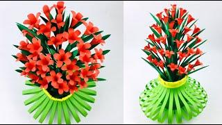 Flower Vase Making | Paper Flower Vase Making | Home Decor Ideas | Paper Flowers Easy | Paper Craft