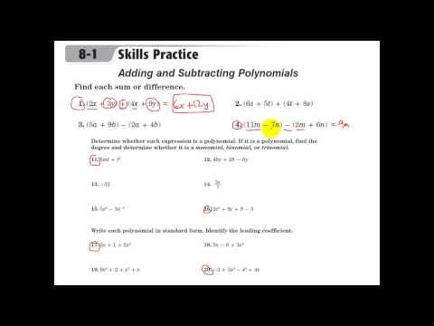 Glencoe Algebra 1 - Adding and Subtracting Polynomials - YouTube