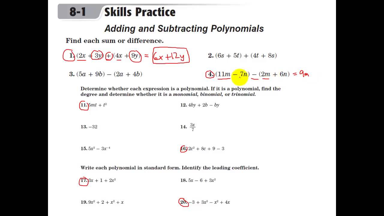 Glencoe Algebra 1 - Adding and Subtracting Polynomials - YouTube