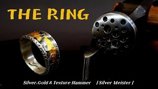Making Silver RING /  With a texture hammer