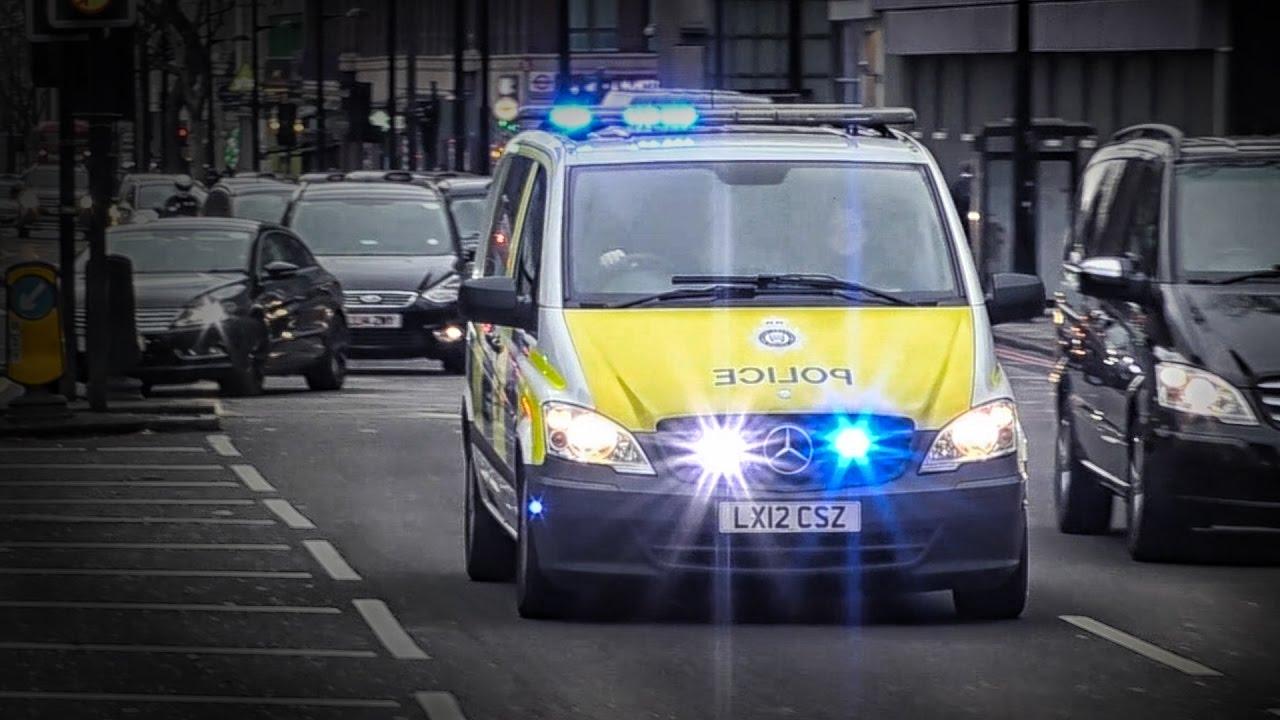 British Transport Police CBRN response unit responding on lights and sirens