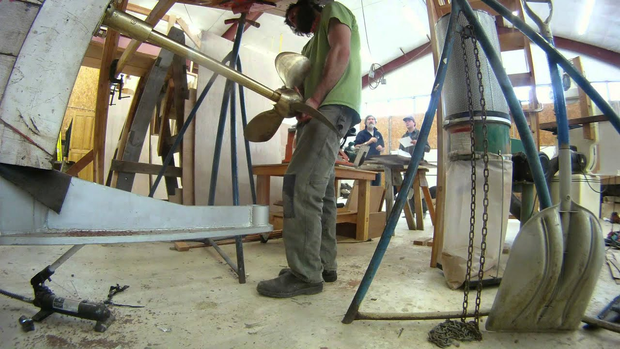 Installing Stern Tube and Prop Shaft at the Northwest School of Wooden Boat  Building by Western Workboats LLC
