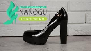 Туфли женские на широком каблуке лакированные черные Visa Model S