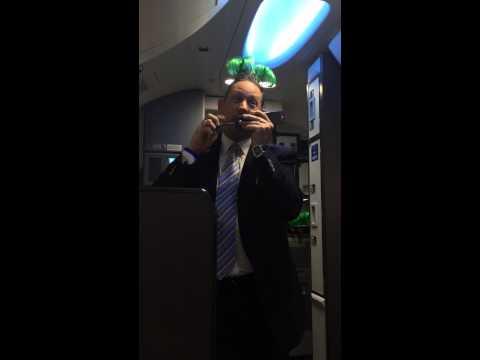 Hilarious Southwest flight attendant Robert! flight 3358 Chicago-Manchester, St. Patty's weekend