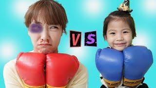 누가 누가 이길까요?!! 서은이와 엄마의 로봇 권투 진짜 권투 대결 Pretend Play with Boxing Robot Toy Contest