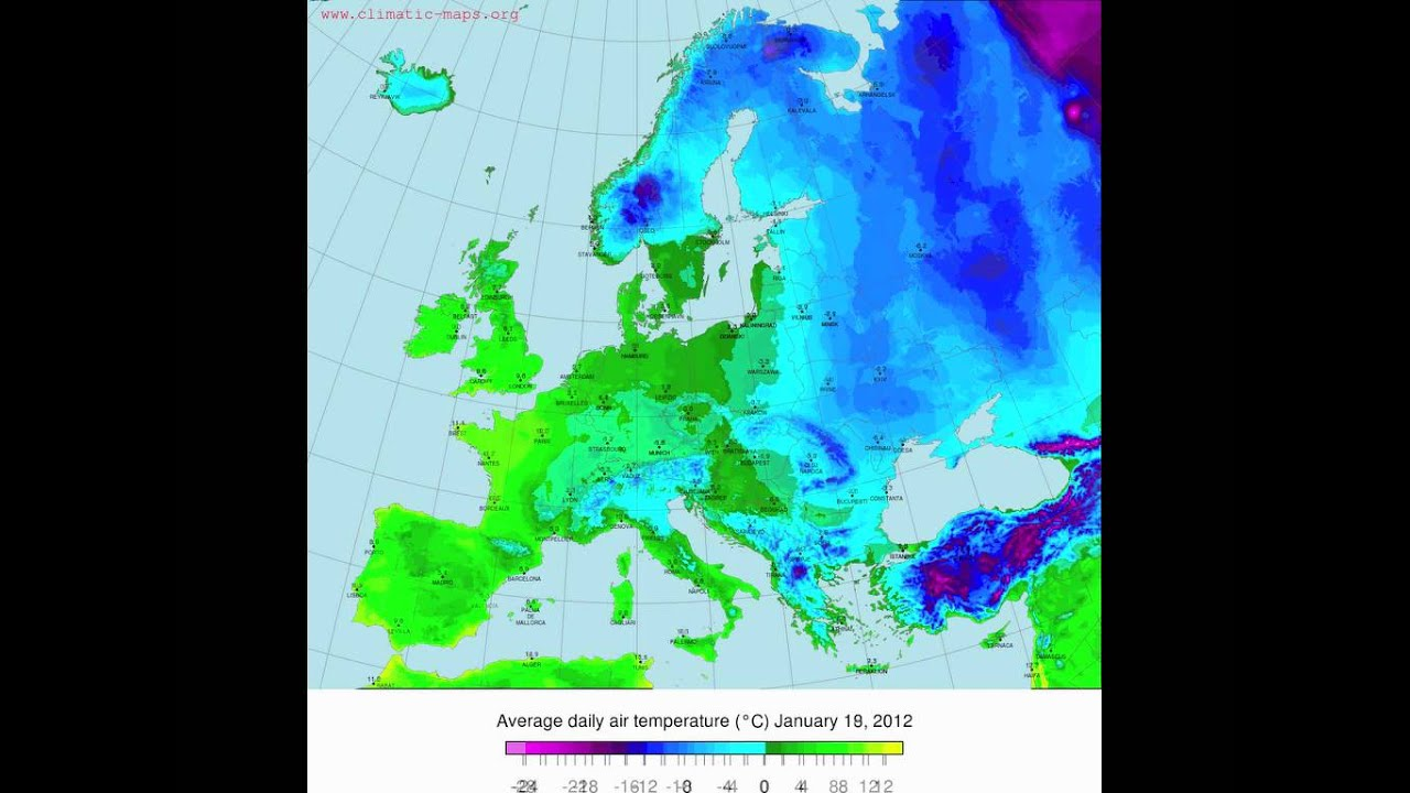 Heavy Winter In Europe Temperature Maps January  Www - Temperature map united states january