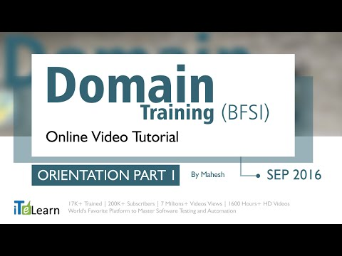 Domain Training Tutorials (Orientation Part 01) ( Banking And Financial Services)