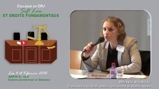 """Colloque """"Soft Law et droits fondamentaux"""" - Intervention Mme  Mihaela AILINCAI"""