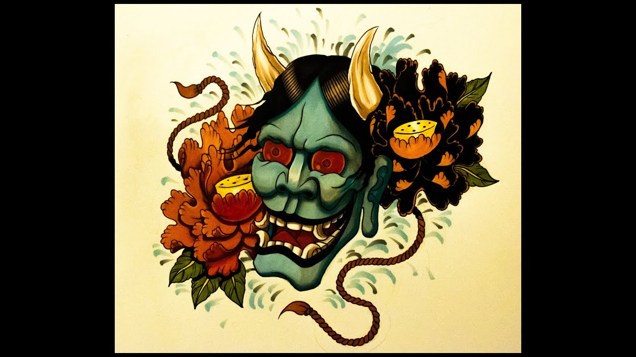 How to draw a Hannya Mask Tattoo Style By thebrokenpuppet - YouTube