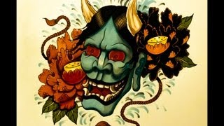 How to draw a Hannya Mask Tattoo Style By thebrokenpuppet