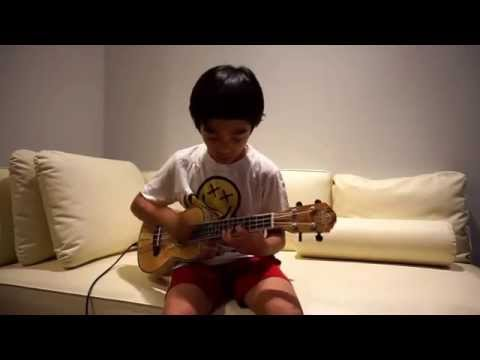 Evan's Ukulele - While My Guitar Gently Weeps by 9yr old (self-taught)