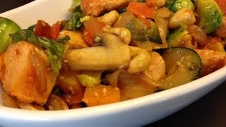 Spicy Cashew and Turkey Stir-fry Recipe (Healthy Quick Weeknight meal)