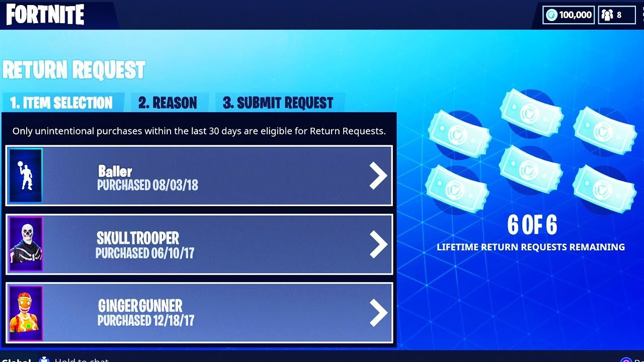 Refund more than 3 Items in Fortnite Battle Royale! (Refund more items  concept in Fortnite)