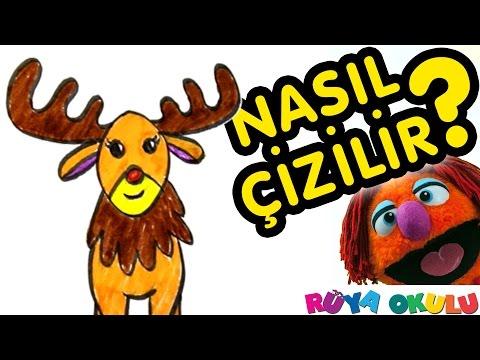 Nasıl Çizilir? - Geyik - Rudolf - Çocuklar İçin Resim Çizme - RÜYA OKULU