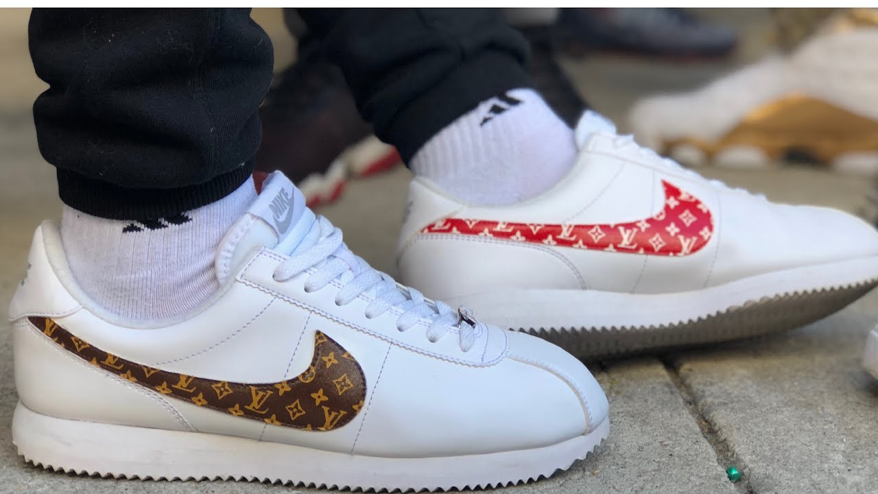 "541dc79826ac97 CUSTOM ""LV x SUPREME"" NIKE CORTEZ TUTORIAL - YouTube"