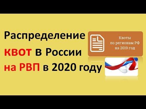 Распределение квот в России на РВП в 2020 году