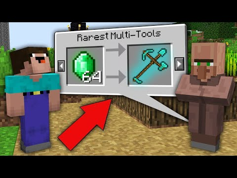 Minecraft NOOB vs PRO : ONLY THIS VILLAGER TRADING RAREST MULTI TOOL! Challenge 100% trolling