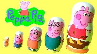 New Peppa Pig Nesting Toys Surprise Stacking Cups Matryoshka Wooden Dolls Матрёшка