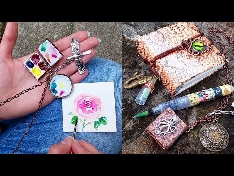 Wow! Mini Watercolor Locket Palette & Tiny Travel Journal with Brush How-To!