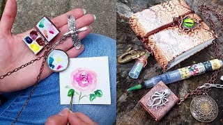 Wow! Mini Watercolor Locket Palette & Tiny Travel Journal with Brush H