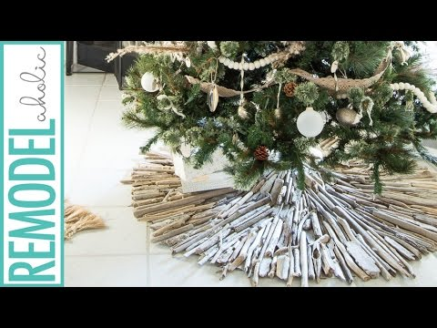 how to make a driftwood christmas tree skirt beach cottage style - Beach Style Christmas Decorations
