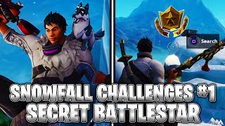 SECRET BATTLESTAR! Week 1 Snowfall Challenges (Fortnite Season 7)