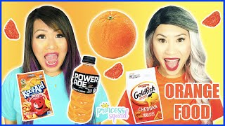 EATING ONLY ONE COLOR FOOD FOR 24 HOURS CHALLENGE! EATING ONLY ORANGE FOOD CHALLENGE!