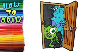 How to draw Sulley and Mike from Monsters,Inc - learn to draw - drawing lessons - coloring pages