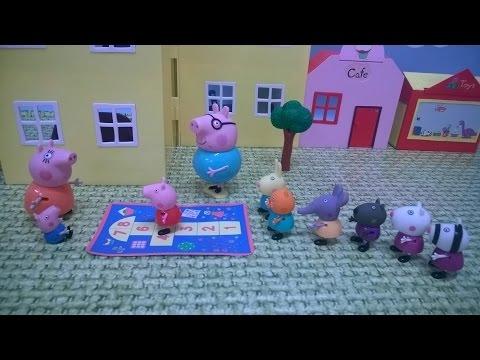 Bajka Świnka Peppa po polsku. Peppa gra z przyjaciółmi w klasy.
